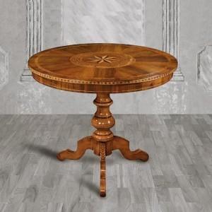 Kulatý jídelní stůl s intarsií