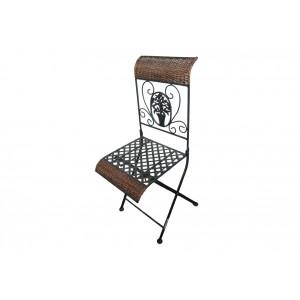Zahradní kovová židle s přírodním ratanem