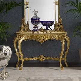 Zlatá konzole a zrcadlo MADEMOISELLE
